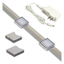 Jesco Lighting - Jesco Lighting KIT-SD131-TR2-A Orionis 2' Square LED Track Under Cabinet Kit - Jesco Lighting has built a solid reputation on quality, service and value. An expanded product offering includes a broad range of indoor and outdoor lighting products. All are available in various energy-efficient lamp sources and options exist for a multitude of power supplies and accessories allowing you to customize according to your project needs.The Orionis 2 ft. Track kit showcases two easily slid able, square, super-slim, and super bright and energy efficient led modules mounted onto a low profile track. Also included is a 12 volt plug-in power supply. The track includes a touch on/off/dimming switch that memorizes the last setting used. Two screws (included) are all that is needed to attach the track to the surface. Wire clips are provided for easy wire management. Multiple track kits can be linked together to expand this led system, but note, the entire system cannot exceed 15 watt.Features: