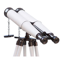 Handcrafted Nautical Decor - Floor Standing Admiral's Oil-Rubbed Bronze-White Leather Binoculars 62'' - The Hampton Nautical Admiral's Oil-Rubbed Bronze/White Leather Binoculars 62'' complete with a rare and expensive shisham wood painted white tripod stand, is the perfect gift for the explorer in your family. This is a functional nautical Decor item and looks great resting on a wood desk or between books on a wall cabinet.----The oil-rubbed bronze double scope enables its user to use both eyes to focus an object while keeping the binoculars steady with the stand. These binoculars are capable of reaching up to 12x magnification and can be focused using a knurled focusing ring in the center of the binoculars. --The tripod wood stand features polished and smooth rounded wood stands painted white, each with oil-rubbed bronze fittings and a screw release to let you adjust the height. An oil-rubbed bronze chain holds the three stands together so the binoculars hold their position. --------    12x magnification ultra large image size--    Oil-rubbed bronze wrapped in white leather telescope body--    --    Beautiful white painted wood      tripod supports      and steadies binoculars--    Adjustable height of the tripod legs with ease--    Custom engraving/photo etching available; logos, pictures, and slogans can easily be placed on any item. Typical custom order minimum is 100+ pieces. Typical lead time to engrave and produce is 4+ weeks.--    --