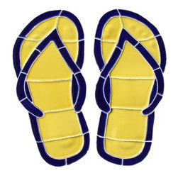 Glass Tile Oasis - Small Yellow Flip Flops Pool Accents Yellow Hang 10 Line Glossy Ceramic - We offer six lines of in-stock designs ready for immediate delivery including: The Aquatic Line, The Shadow Line, The Hang 10 Line, The Medallion Line, The Garden Line and The Peanuts Line. All of the mosaics are frost proof, maintenance free and guaranteed for life. Our Aquatic Line includes: mosaic dolphins, mosaic turtles, mosaic tropical and sport fish, mosaic crabs and lobsters, mosaic mermaids, and other mosaic sea creatures such as starfish, octopus, sandollars, sailfish, marlin and sharks. For added three dimensional realism, the Shadow Line must be seen to be believed. Our Garden Line features mosaic geckos, mosaic hibiscus, mosaic palm tree, mosaic sun, mosaic parrot and many more. Put Snoopy and the gang in your pool or bathroom with the Peanuts Line. Hang Ten line is a beach and surfing themed line featuring mosaic flip flops, mosaic bikini, mosaic board shorts, mosaic footprints and much more. Select the centerpiece of your new pool from the Medallion Line featuring classic design elements such as Greek key and wave elements in elegant medallion mosaic designs.