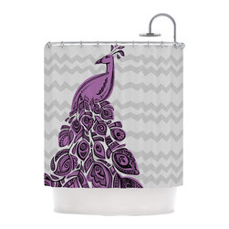 """Kess InHouse - Brienne Jepkema """"Peacock Purple"""" Lavender Gray Shower Curtain - Finally waterproof artwork for the bathroom, otherwise known as our limited edition Kess InHouse shower curtain. This shower curtain is so artistic and inventive, you'd better get used to dropping the soap. We're so lucky to have so many wonderful artists that you'll probably want to order more than one and switch them every season. You're sure to impress your guests with your bathroom gallery in addition to your loveable shower singing."""