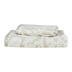 Threshold Soft Floral Bath Towel Set, Tan - These towels are soft and pretty for a washroom.
