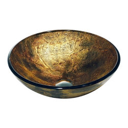 Vigo Industries - Copper Shapes Vessel Sink - The glass bowl of this opulent vessel sink from Vigo Industries looks as though it has been molded from liquid gold. Hand painted glass making each bowl unique and functional