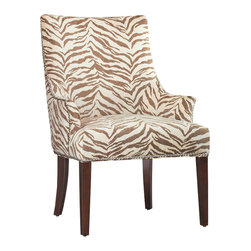 Hooker Furniture - Zoey Accent Chair - Bring the safari home with this fierce accent chair. A faded zebra print and midcentury lines make this seat a fun, tasteful addition to your modern or eclectic home. Classic details like back saber legs and nailed edges give a classic edge to its contemporary style.