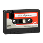tape dispenser - rewind to the '80s. Fun flashback tape deck flashes forward as functional desktop object. Mini spools and graphic red/grey/white label fake out black rubber tape dispenser as old school cassette.- Rubber- One roll of adhesive tape included- Wipe with soft dry cloth- Made in Taiwan