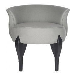 Safavieh - Emir Vanity Chair - Signaling the return to glamour, the Emir vanity chair by Safavieh conjures images of Hollywood dressing rooms. Curvy as a starlet, this diminutive chair is upholstered in sea mist linen and accented with black cabriole style legs. Use the Emir chair in the bedroom or master bath for a touch of luxury.