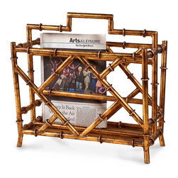 Bamboo Magazine Rack - Antique Gold - Place a treasured tome, a periodical to be perused, or a newspaper to be scanned in the Bamboo Magazine Rack - Antique Gold. Crafted of iron, the stand's enclosure boasts the look of bamboo shoots finished in a lustrous antique gold finish. The stand is generously scaled to hold a collection of your favorite reads and keep them close at hand in your master suite, personal library, or reading alcove.