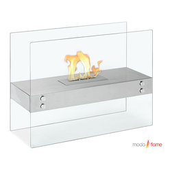 Moda Flame - Moda Flame Avila Contemporary  Indoor Outdoor Ethanol Fireplace in White - The Avila modern fireplace is comprised of a steel shelf, sitting comfortably on two vertically mounted glass walls. This elegant model is perfect for any indoor or outdoor setting.