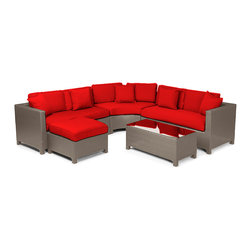 "Reef Rattan - Reef Rattan 5 Piece Sectional Sofa Set - Natural Rattan / Red Cushions - Reef Rattan 5 Piece Sectional Sofa Set - Natural Rattan / Red Cushions. This patio set is made from all-weather resin wicker and produced to fulfill your needs for high quality. The resin wicker in this patio set won't fade, shrink, lose its strength, or snap. UV resistant and water resistant, this patio set is durable and easy to maintain. A rust-free powder-coated aluminum frame provides strength to withstand years of use. Sunbrella fabrics on patio furniture lends you the sophistication of a five star hotel, right in your outdoor living space, featuring industry leading Sunbrella fabrics. Designed to reflect that ultra-chic look, and with superior resistance to the elements in a variety of climates, the series stands for comfort, class, and constancy. Recreating the poolside high end feel of an upmarket hotel for outdoor living in a residence or commercial space is easy with this patio furniture. After all, you want a set of patio furniture that's going to look great, and do so for the long-term. The canvas-like fabrics which are designed by Sunbrella utilize the latest synthetic fiber technology are engineered to resist stains and UV fading. This is patio furniture that is made to endure, along with the classic look they represent. When you're creating a comfortable and stylish outdoor room, you're looking for the best quality at a price that makes sense. Resin wicker looks like natural wicker but is made of synthetic polyethylene fiber. Resin wicker is durable & easy to maintain and resistant against the elements. UV Resistant Wicker. Welded aluminum frame is nearly in-destructible and rust free. Stain resistant sunbrella cushions are double-stitched for strength and are fully machine washable. Removable covers made with commercial grade zippers. Tables include tempered glass top. 5 year warranty on this product. Love Seat (R): W 54"" D 30"" H 27"", Love Seat (L): W 54"" D 30"" H 27"", Curved Bench: W 40"" D 20"" H 27"", Ottoman: W 26"" D 26"" H 13"", Coffee Table: W 40"" D 20"" H 16"""