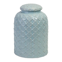 "Imax - Robin's Egg Blue Textured Graphic Lidded Jar - *Dimensions: 16""h x 10""w x 10"""