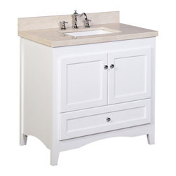 Kitchen Bath Collection - Abbey 36-in Bath Vanity (Crema Marfil/White) - This bathroom vanity set by Kitchen Bath Collection includes a white Shaker-style cabinet with soft close drawers and self-closing door hinges, double-thick Spanish Crema Marfil countertop (an incredible 1.5 inches at the edge!), single undermount ceramic sink, pop-up drain, and P-trap. Order now and we will include the pictured three-hole faucet and a matching backsplash as a free gift! All vanities come fully assembled by the manufacturer, with countertop & sink pre-installed.