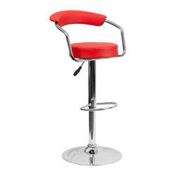 Flash Furniture - Flash Furniture Barstools Residential Barstools X-GG-DER-0601-3CT-HC - This dual purpose stool easily adjusts from counter to bar height. This retro style stool with arms will look great around the bar or kitchen. The easy to clean vinyl upholstery is an added bonus when stool is used regularly. The height adjustable swivel seat adjusts from counter to bar height with the handle located below the seat. The chrome footrest supports your feet while also providing a contemporary chic design. [CH-TC3-1060-RED-GG]