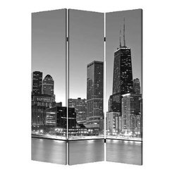 Chicago Screen - Bring a bit of the windy city into your living space with this creative three-panel screen. It's lightweight so you can hide your flat screen and electronics from the rest of the room when they're not in use.