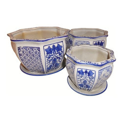 Oriental furnishings - Set of Three Porcelain Garden Pots - Chinese Blue and White daisy chain design porcelain works in almost any room. This set of three Planters looks gorgeous on a table top, on the floor or outdoors on the patio. Painted traditional Cantonese design with deep blue and crisp white floral. This set of planters makes a wonderful gift for the plant lover. Consider a plant stand to enhance it.