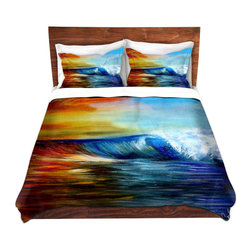 DiaNoche Designs - Duvet Cover Twill - Maui Wave - Lightweight and super soft brushed twill Duvet Cover sizes Twin, Queen, King.  This duvet is designed to wash upon arrival for maximum softness.   Each duvet starts by looming the fabric and cutting to the size ordered.  The Image is printed and your Duvet Cover is meticulously sewn together with ties in each corner and a concealed zip closure.  All in the USA!!  Poly top with a Cotton Poly underside.  Dye Sublimation printing permanently adheres the ink to the material for long life and durability. Printed top, cream colored bottom, Machine Washable, Product may vary slightly from image.