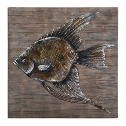 Iron Fish Wall Art - Fish Is Made Of Hand Embossed Steel That Is Painted In Multiple Colors Of Paint Then Applied To Reclaimed Wood That Has A Gray, Brown And Black Finish.