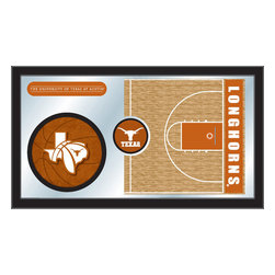 "Holland Bar Stool - Holland Bar Stool Texas Basketball Mirror - Texas Basketball Mirror belongs to College Collection by Holland Bar Stool The perfect way to show your school pride, our basketball Mirror displays your school's symbols with a style that fits any setting.  With it's simple but elegant design, colors burst through the 1/8"" thick glass and are highlighted by the mirrored accents.  Framed with a black, 1 1/4 wrapped wood frame with saw tooth hangers, this 15""(H) x 26""(W) mirror is ideal for your office, garage, or any room of the house.  Whether purchasing as a gift for a recent grad, sports superfan, or for yourself, you can take satisfaction knowing you're buying a mirror that is proudly Made in the USA by Holland Bar Stool Company, Holland, MI.   Mirror (1)"