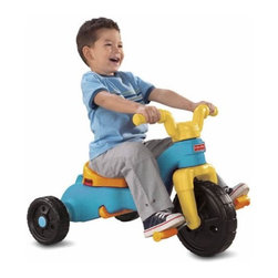 Rock, Roll 'n Ride Trike - Three grow-with-me stages let kids rock, roll, and ride from as young as 1 1/2� all the way to 5! Rocker base easily converts to an extra-long, parent-assist push-handle for toddlers. And when your child is ready for big-kid, independent pedaling fun, simply remove the handle, adjust the seat, and fold-up the footrest. Easily converts from one stage to another, no tools required!