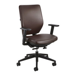 Safco - Safco Sol Task Chair with Arms in Brown Vinyl - Safco - Office Chairs - 7065BR7064BLKIT -About This Product: Sol is comprised of components that were selected to maximize use of recycled materials allowing a great impact indoors and less impact out. It's smart design and it aims to renew more than the working environment. And because nature takes no downtime, we've focused on a chair that helps supports individuals as well as the planet. Sol's beautiful swooping back hugs a Steel frame with sleek metal accents. It features a synchro-tilt mechanism with locking positions and tilt tension control.