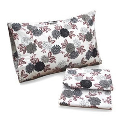 Tribeca Living Dahlia Floral 100% Cotton Deep Pocket Printed Sheet Set - An updated floral pattern and cozy soft flannel make the Tribeca Living Dahlia Floral 100% Cotton Deep Pocket Printed Sheet Set a perfect choice for your winter bedding. Sketched dahlia flowers in sophisticated grey, red, and white create the look. Triple-brushed 170-gram, 100% cotton flannel is brushed on both sides for a sumptuously soft feel. This sheet set is larger to accommodate today's thicker mattresses. It comes complete with an oversized flat sheet, 24-inch-deep pocket fitted sheet, and two pillowcases. Comes in your choice of size.Queen Set Dimensions:Flat sheet: 94 x 106 in.Fitted sheet: 60 x 80 in.Standard pillowcases: 20 x 30 in.King Set Dimensions:Flat sheet: 112 x 106 in.Fitted sheet: 78 x 80 in.King pillowcases: 20 x 40 in.California King Set Dimensions:Flat sheet: 112 x 106 in.Fitted sheet: 72 x 84 in.King pillowcases: 20 x 40 in.