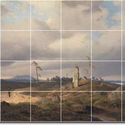Picture-Tiles, LLC - Landscape With Rune Stone Tile Mural By Andreas Achenbach - * MURAL SIZE: 17x25.5 inch tile mural using (24) 4.25x4.25 ceramic tiles-satin finish.