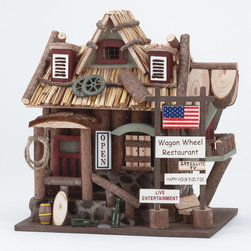 "KOOLEKOO - Wagon Wheel Restaurant Birdhouse - This whimsical ""Wagon Wheel Restaurant"" birdhouse beckons birds to stop in for a bite and rest their weary wings for the night."