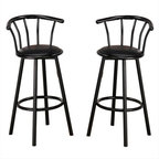 $78 Free Shipping ~~  2 Contemporary Metal Black Swivel Leather Seat Pub Bar Sto - This simple casual bar stool will be a welcome addition to your entertainment area. A curved metal back will keep you comfortable, above a slick round black faux leather swivel seat. Simple black metal tube legs and a round footrest complete the look. Pair with the matching bar unit for a great place to entertain family and friends.