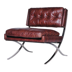 Four Hands - Heathrow Lounge Chair, Cigar - The soft, tufted leather on this classic chair is perfect for adding warmth and masculinity to a room. Stainless steel legs give the turn-of-the-century design a sleek look that would be an elegant accent to a living room, office or library.