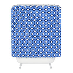 Caroline Okun Blueberry Shower Curtain - Find your thrill. The blueberry, navy and white print on this shower curtain is guaranteed to start your day off right. Each piece is custom printed on woven polyester and is machine washable. Add a juicy splash of style to your life.
