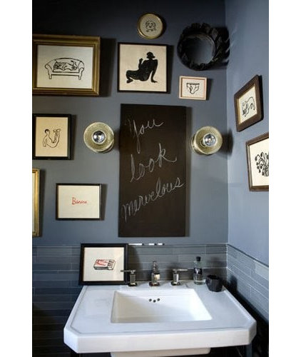Eclectic  battleship blue bathroom
