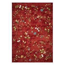 """Horizon 5717 Red Floral Rug - Horizon 5717 Red Floral 3'4"""" x 4'11"""". Machine-Made of 100% UV-Treated Polypropelene Flatweave for Indoor/Outdoor Living with No Backing. Made in Belgium. Vacuum regularly & spot clean stains. Professional cleaning recommended periodically."""