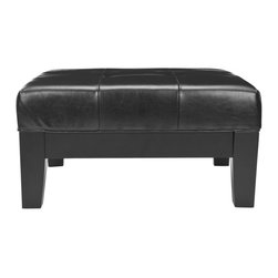 Safavieh - Jordan Square Cocktail Ottoman - Black - Practical and good-looking, the Jordan square cocktail ottoman is a dual purpose piece that provides extra seating and a place for cocktails, snacks, books and more. Crafted of chic but sturdy black bicast leather, its quilted top is set in an elegant frame of black beech wood.