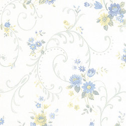 Floral Vine in Blue and Tan - PP27810 - Collection:Pretty Prints 3