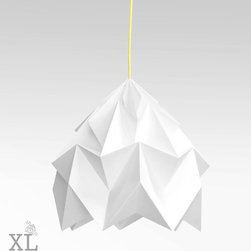 XL Moth Origami Lamp Shade, White by Studio Snowpuppe - These origami lamps are so cool! They are structural and crisp looking and would be great hanging next to a bed.