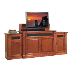 "Touchstone Home Products - Adonzo Distressed Cherry TV Lift Cabinet with side cabinets for Flat Screen TV - The Adonzo can be seen in the detail of the woodwork, it can raise and lower most 60"" diagonal flat screen TV`s. There is a cherry finish with solid wood doors. Behind the front doors have great storage for DVD boxes and games. Also, the bottom shelf holds all cable box and theater system components. The Adonzo is equipped with sliding rear panels. The media shelf in front of cabinet is 8.5""H x 6.5Dx 55""W. This is a drop down shelf designed to hold sound bars, DVD`s, and more."