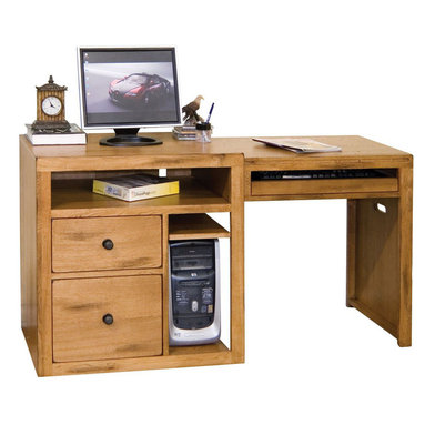 """Sunny Designs - Sedona Expandable Computer Desk - Sedona Expandable Computer Desk; Distressed birch solids & veneers; 1 file & 1 utility drawers; 1 pull out keyboard tray; CPU/game compartment; Weight: 136.4 lbs; Dimensions:30""""H x 29""""W x 18"""""""