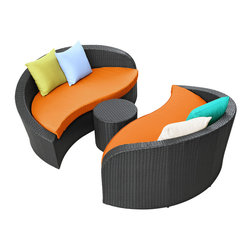 LexMod - Magatama Outdoor Wicker Patio 3 Piece Sofa Set in Espresso Orange - Bring opposites together in a circle of abundance. True grace and natural beauty travel the same circuit with perfect balance in this modern outdoor sofa set. Magatama is your essential tool to traverse all meetings from chance to planned.