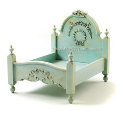 Shabby Chic Dog Bed, Antiqued Aquamarine by Rockstar Puppy - This is regal and royal for the little duke of the castle.
