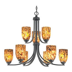 Design Classics Lighting - Modern Chandelier with Brown Art Glass in Matte Black Finish - 586-07 GL1005MB - Contemporary / modern matte black 9-light chandelier. Takes (9) 100-watt incandescent A19 bulb(s). Bulb(s) sold separately. UL listed. Dry location rated.