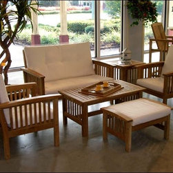 Fifthroom - Teak Georgian Set - This Teak patio set has everything you need for a stylish and functional outdoor (or indoor!) seating area.  The love seat, two chairs, and ottoman all include soft and comfortable white cushions.  The coffee and side table will also match your set perfectly to bring the whole group together.    Forget all the thought and planning that would go into putting this kind of set together yourself, just sit back and put your feet up on the ottoman!