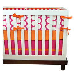"Modified Tot - Baby Bedding Crib Set, Sunset - All the colors of an amazing sunset, this crib bedding features bright pink and orange. Bold colors are kept in check with simple modern prints. The three piece set includes bumpers with hand-stitched fabric ties and contrasting piping, a fitted sheet with elastic all the way around and a four-sided skirt with a 15"" drop. Bumpers are created in six separate pieces for easy transition to a toddler bed, they measure 1"" thick and 10"" high. All items are proudly made in the USA. All products are made to order."