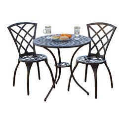 Great Deal Furniture - Caye Elegant Design Bistro Set - This durable set will be a nice addition to any patio area with its rich finish and comfortable and elegant design. Made from rust-free cast aluminum molded into a traditional bronze look, you will enjoy years of use with little or no maintenance at all.