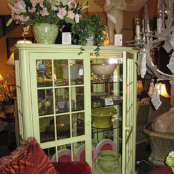 Photos from our furniture gallery at European Home - Key lime green painted display cabinet with glass shelving and lighting