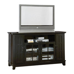 HomeStyles - TV Credenza in Ebony Finish - Mission style. Top is hand selected veneers to ensure grain consistency. Two glass door cabinet with one adjustable shelf. Cable accessible for convenient electronic storage. Open storage compartment in center to hold your electronic components. Matte black hardware. Two adjustable shelves in side cabinets. Doors on each side. Accommodates 60 in. flat screen TVs. Wire management openings. Made from hardwood solids and engineered wood. Made in Thailand. Minimal assembly required. Open center: 34 in. W x 17.75 in. D x 7.5 in. H. Center door cavity: 34 in. W x 17.75 in. D x 19 in. H, 1 adjustable shelf. Side door cavity (each): 7.75 in. W x 17.75 in. D x 28 in. H, 2 adjustable shelves. Floor clearance: 2.75 in.. 60 in. W x 20.25 in. D x 36 in. HClean, simple lines and comfortable, functional design. Timeless Arts & Crafts styling will make a wonderful addition to the home coordinating with a multitude of decors. A clear coat finish helps protect against wear and tear from normal use.