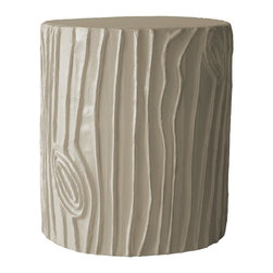 Stray Dog Designs - Stray Dog Designs Stump Stool and Accent Table - A brilliant rendition of the common stump. Handmade of papier mache from recycled materials by artisans in Haiti. Use it as a strong and comfy seat, or a charming accent table.