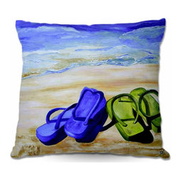 DiaNoche Designs - Naked Feet on the Beach Pillow - Soft and silky to the touch, add a little texture and style to your decor with our woven linen throw pillows. 100% smooth poly with cushy supportive pillow insert, zipped inside. Dye Sublimation printing adheres the ink to the material for long life and durability. Double sided print. Machine washable. Product may vary slightly from image.