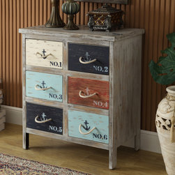 Coastal/Tropical Style - Full of aged character, this chest is chock full of nautical appeal. The base has straight lines and is finished in a distressed Bayview Grey. Each of the six deep drawers sport a bright nautical hue, stamped decals and rope handles. The top also bears freight-inspired stamps. DIMENSIONS: 24.4x15x28.8 (ctc46293)
