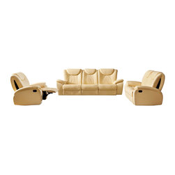 ESF - ESF 33 Beige Top Grain italian Leather 3 Piece Sofa Set With Built-in Recliners - The ESF 33 sofa set is a great addition for any room that wants modern design with a traditional look. This sofa set comes upholstered in a beautiful beige top grain Italian leather in the front where your body touches. Skillfully chosen match material is used on the back and sides where contact is minimal. High density foam is placed within the cushions for added comfort. Each piece features built-in recliners for that extra touch of relaxation. Only solid wood products were used when crafting the frame making the sofa set a very durable set. The sofa set consist of a sofa, loveseat, and chair only.
