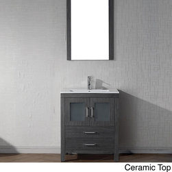 VIRTU - Virtu USA Dior 28 inch Single Sink Vanity Set in Zebra Grey - Virtu USA 28 inch Dior single sink vanity is the essence of beauty with clean lines and quality material. This vanity comes with two soft closing doors and drawers,a mirror,and an option of three type of counter tops.