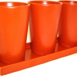 Plant Pots With Runoff Tray By Red Envelope - Think outside the pot! Wouldn't these terracotta pots be great for holding forks, spoons and knives at an outdoor buffet?