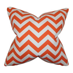 The Pillow Collection - Falkner Chevron Pillow Tangerine - Bright and cheery, this throw pillow creates a playful mood to your living space. Enhance your living room or bedroom with a few pieces of this square pillow. Printed with a chevron pattern in alternating shades of tangerine and white. Made of 100% soft cotton material. Crafted in the USA.